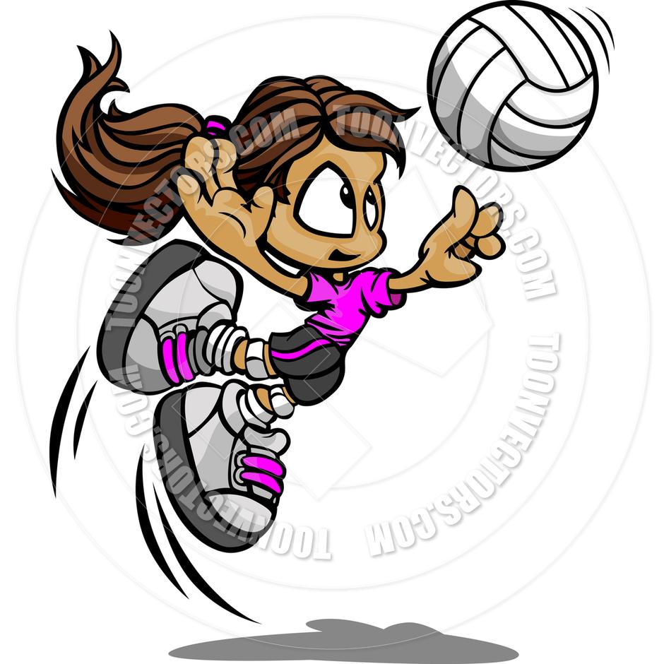 Volleyball cartoon spike