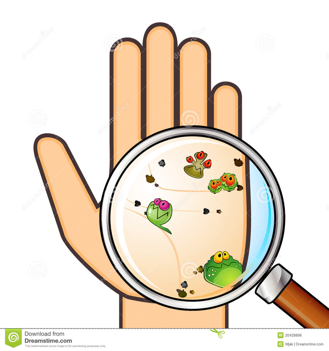 Palm With Germs And Trash Across Magnifying Glass Mr No Pr No 3 2991 8