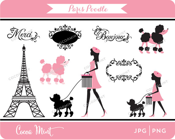 Paris Poodle Clip Art By Cocoa Mint   Catch My Party