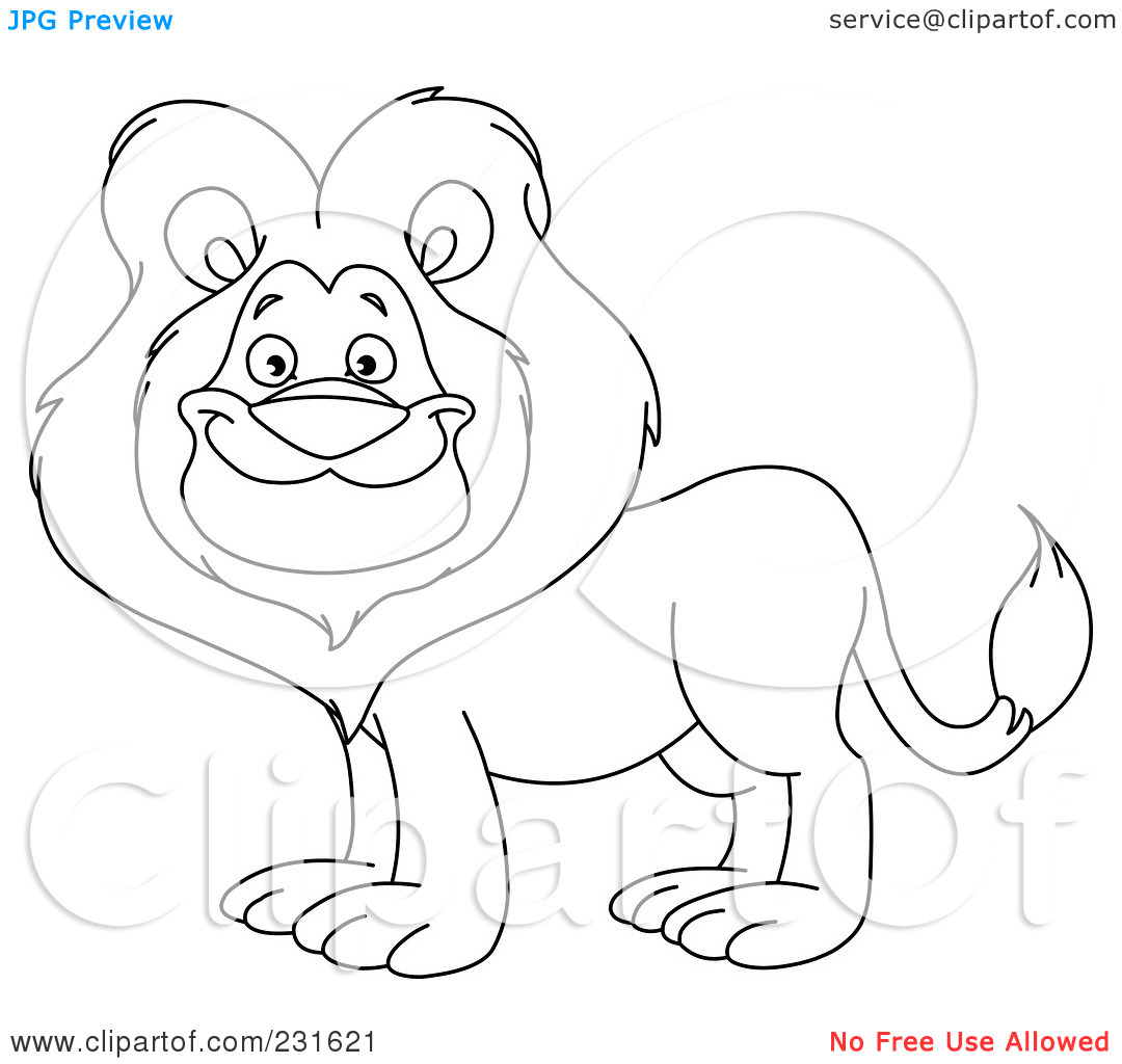 Rf  Clipart Illustration Of A Coloring Page Outline Of A Happy Lion
