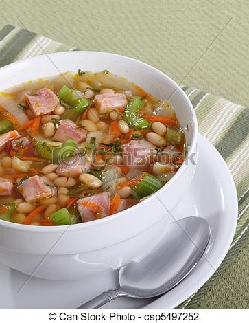 Stock Photo Of Ham And Bean Soup   Ham And Bean Soup In A Bowl