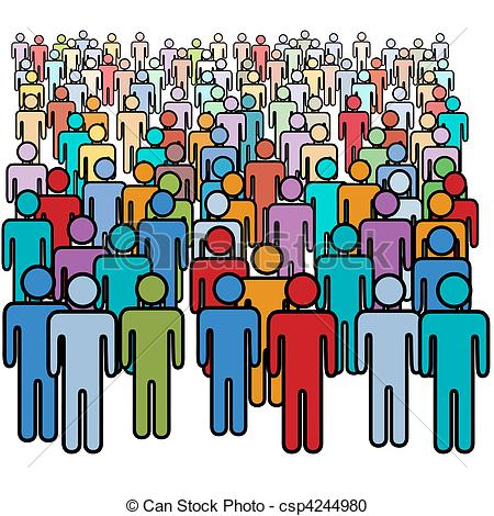 Vector Clipart Of Big Crowd Of Many Colors Social People Group   A Big