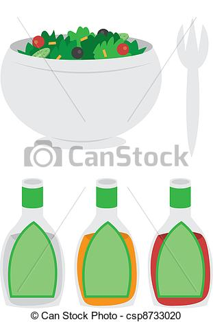 Vector Clipart Of Bowl Of Salad   Cartoon Bowl Of Salad With Dressing