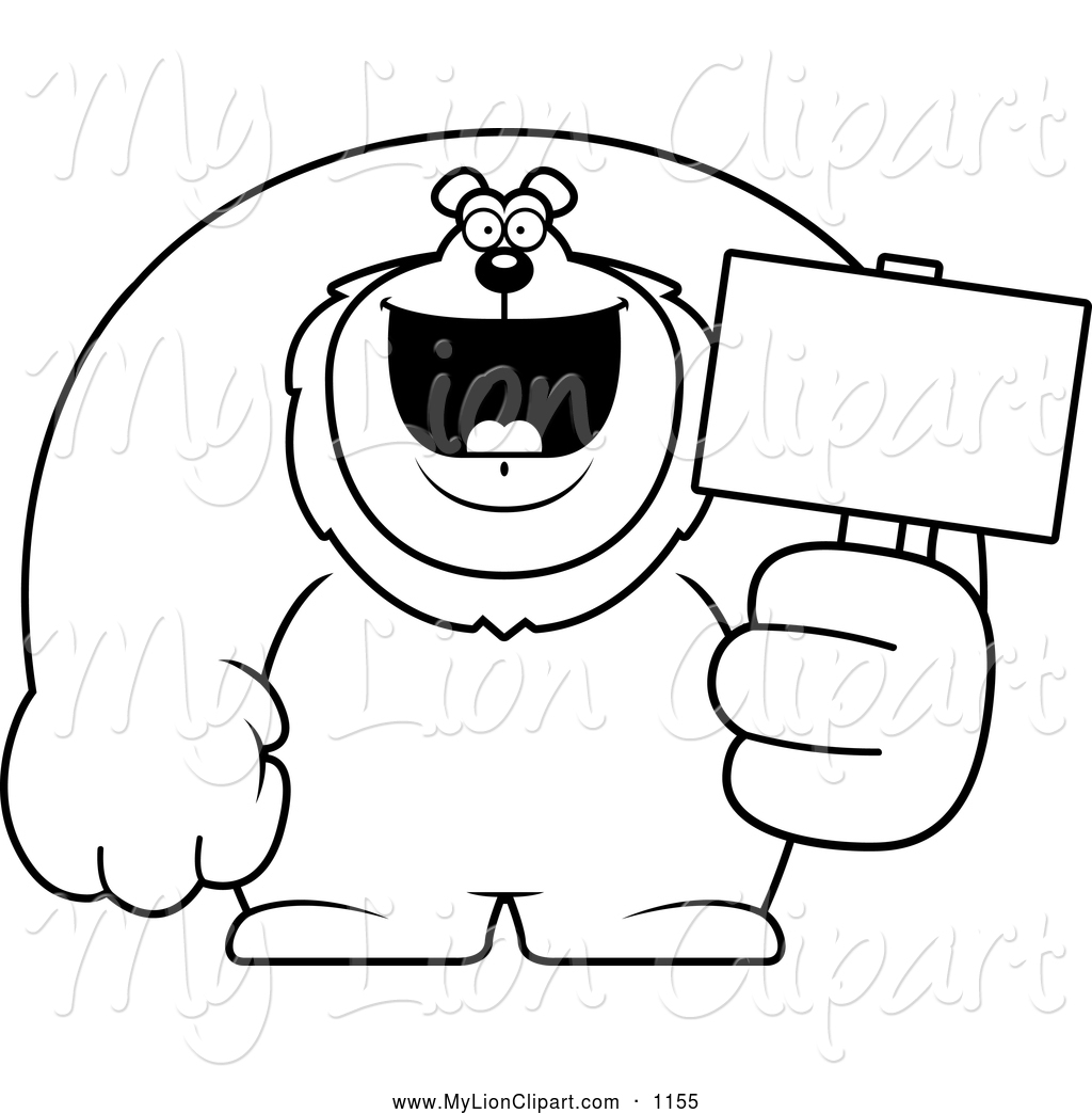 White Happy Buff Lion Holding A Sign Black And White Excited Buff Lion