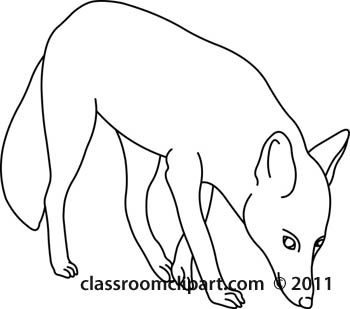 Animals   Fox Animal 59 Outline   Classroom Clipart