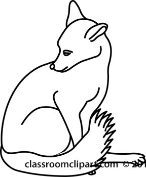 Animals   Sitting Fox Animal Outline 0509   Classroom Clipart
