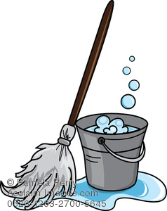 Clip Art Illustration Of Bucket Of Soapy Water With A Mop   Acclaim