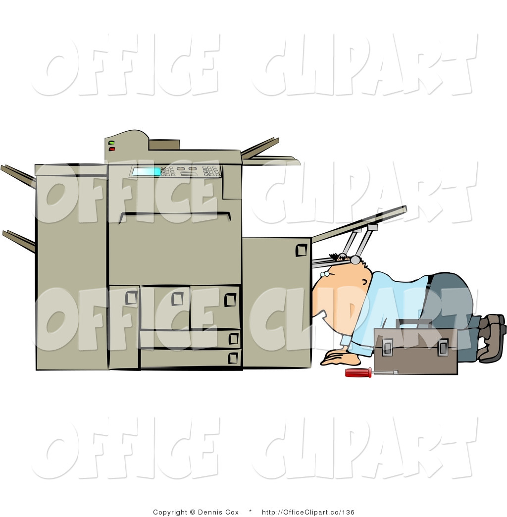Clip Art Of A Guy Trying To Fix A Broken Copy Machine By Djart    136