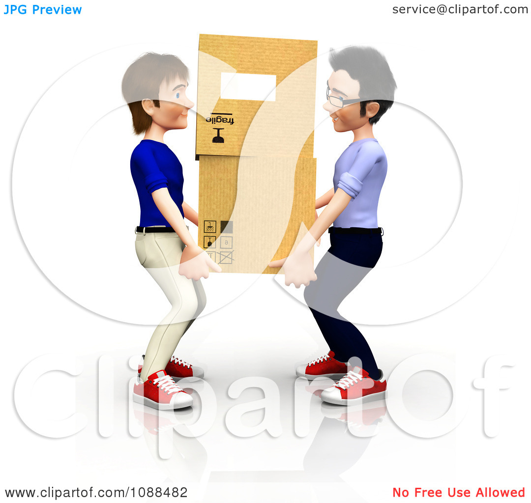 Clipart 3d Men Carrying Moving Boxes   Royalty Free Cgi Illustration