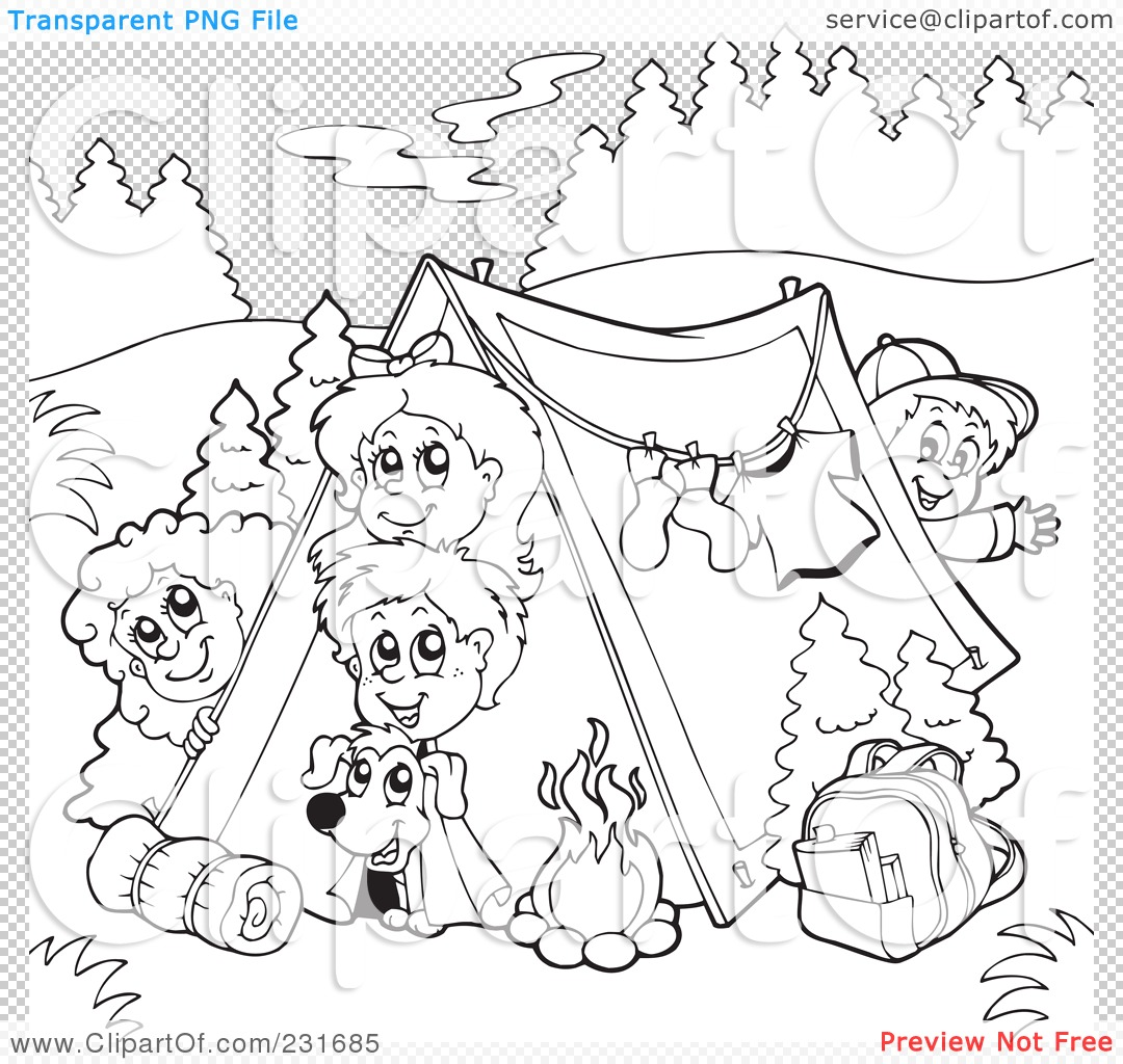 Adult Cute Camping Coloring Pages To Print Images best camping coloring pages camper page getcoloringpagescom clipart illustration of a outline group free printable kids images