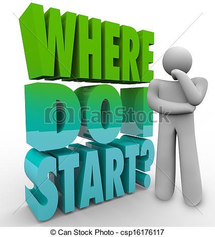 Clipart Of Where Do I Start Thinker Person Wondering Direction Plan