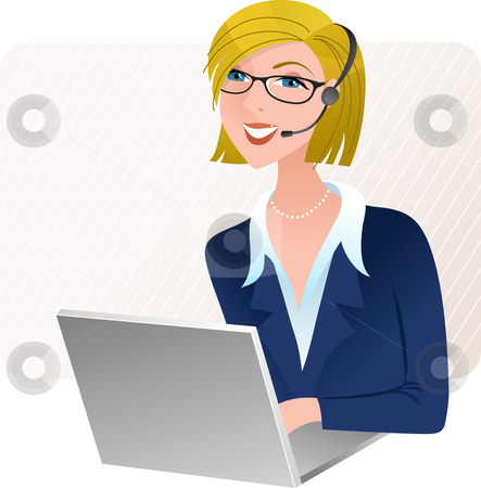 Cute Customer Service Operator Stock Vector Clipart Young Blond Call