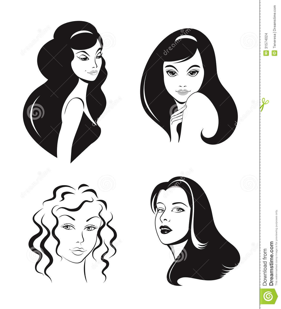 Faces Stock Vector Clipart Vector Illustration Of Black   Long
