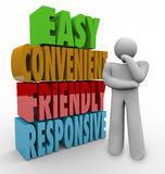 Friendly Responsive Thinker 3d Words Royalty Free Stock Image