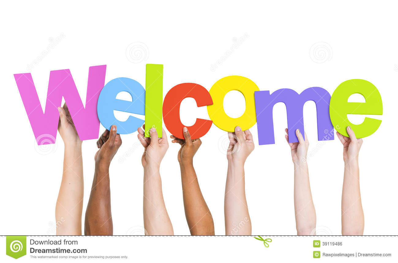 Multi Ethnic Hands Holding The Word Welcome Stock Illustration   Image