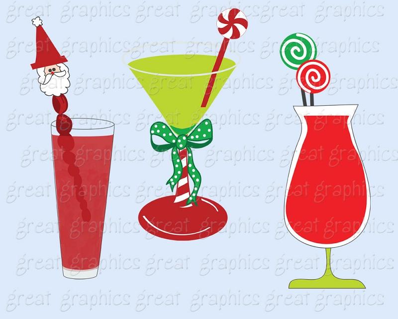 paper-clip-art-christmas-digital-printable-christmas-cocktail-clip-art ...