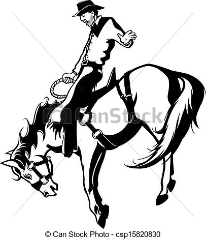 Vectors Of Saddle Bronc Rider   Illustrated Saddle Bronc Rider Vector