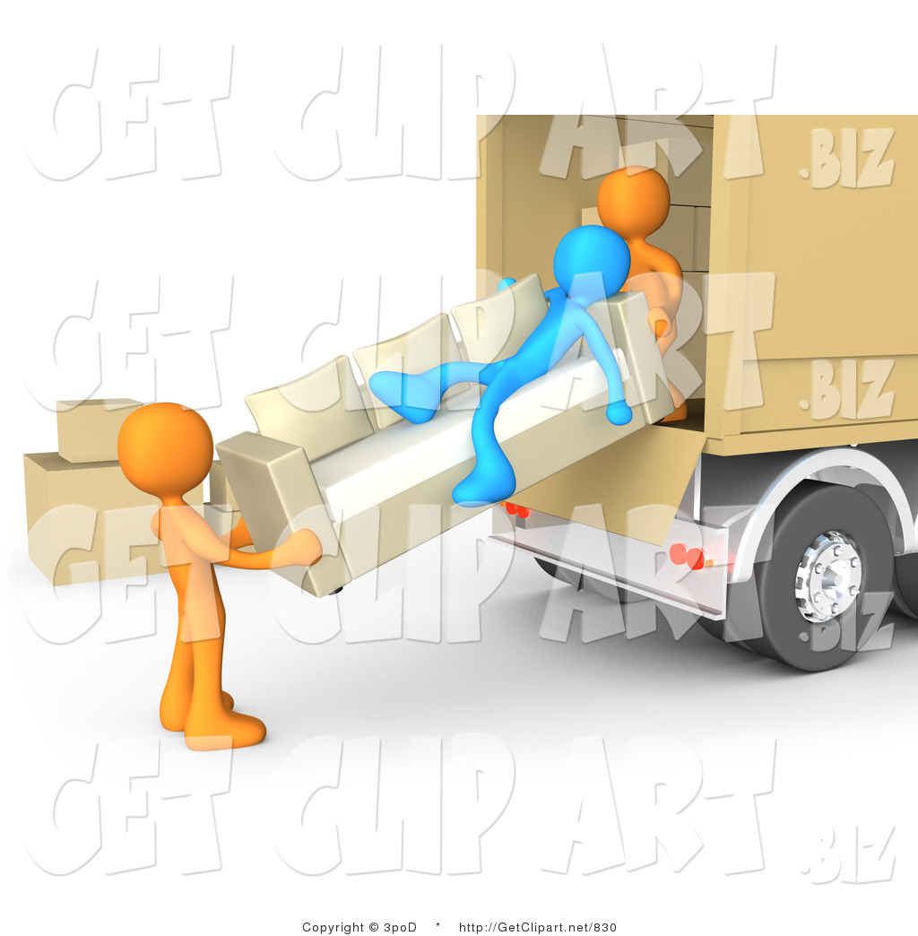 While Two Orange Men Load Furniture On A Moving Truck By 3pod    830