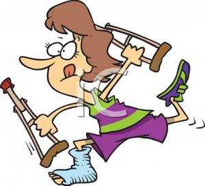 Woman With A Broken Foot Running   Royalty Free Clipart Picture