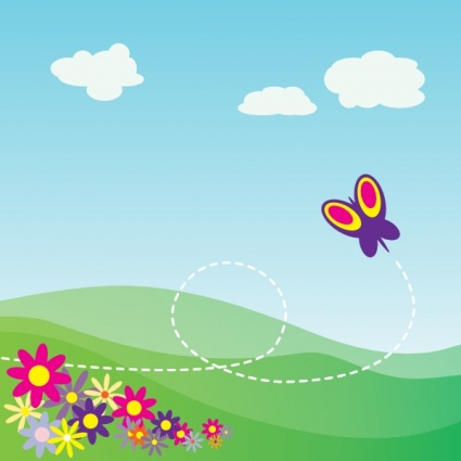 Cartoon Hillside With Butterfly And Flowers Clip Art Vector For Free