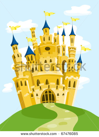 Castle On Hill Silhouette Stock Vector Clipart Castle On Hill