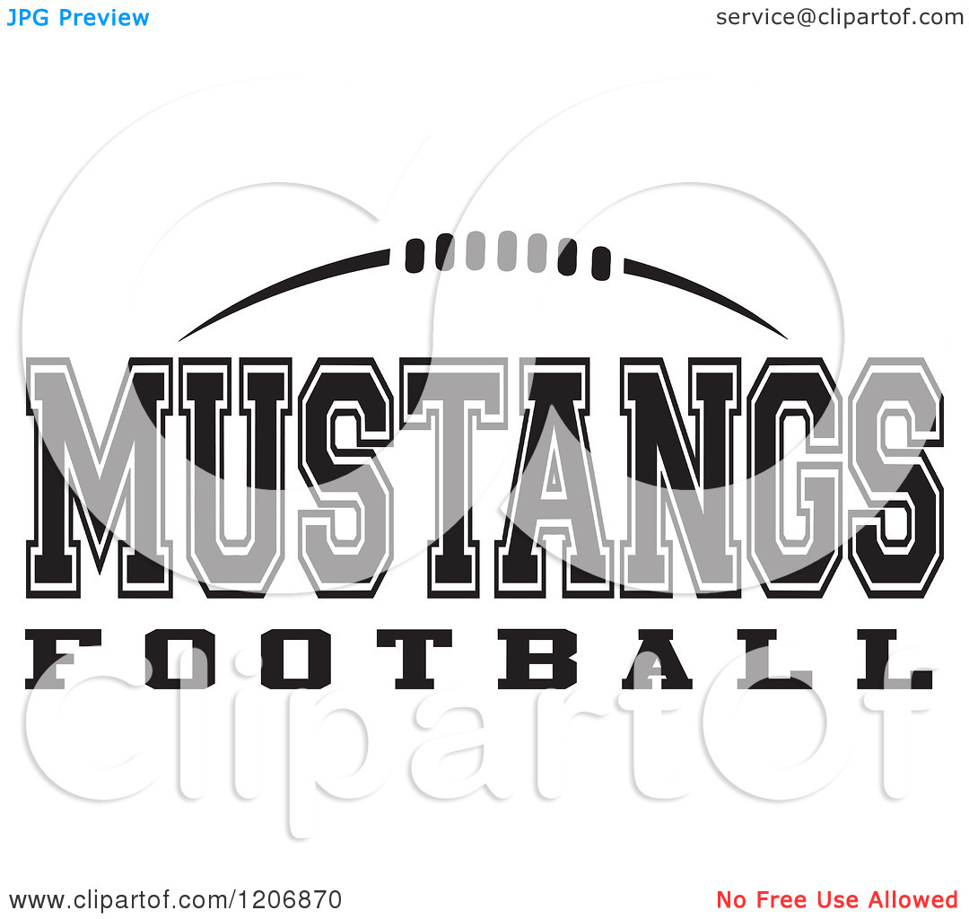 Clipart Of A Black And White American Football And Mustangs Football