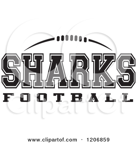 Clipart Of A Black And White American Football And Sharks Football