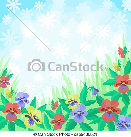 Clipart Of Flowers Pansies And Sky Background   Floral Background