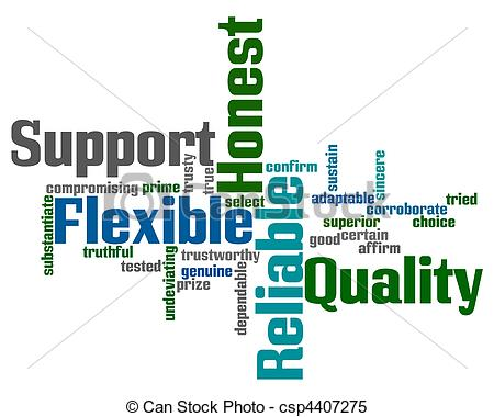 Clipart Vector Of Support And Reliability Words   Word Cloud With