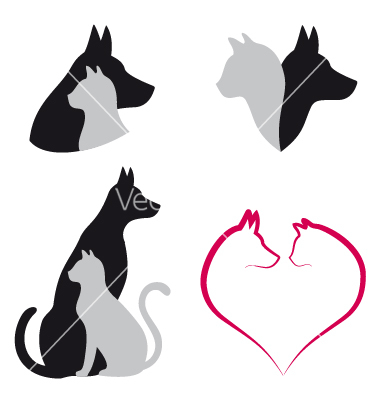 Dog And Cat Outline Tattoo Clipart   Free Clipart