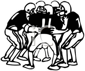 Football Players In A Huddle   Royalty Free Clipart Picture