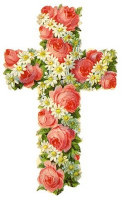 Free Vintage Easter Clip Art Cross Covered With Pink Roses And Daisies