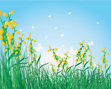 Home   Clip Arts   Free Vector Grass Flowers Isolated Sky Background