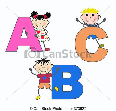 Of Alphabet Letters A B C   Kids Playing With Letterrs A B C