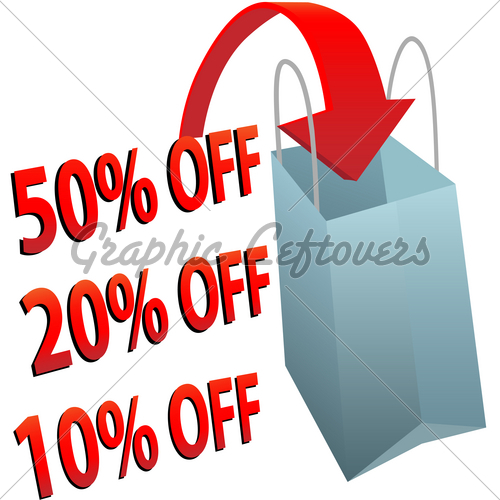 Shopping Bag 10 20 50 Per Cent Off Sale   Gl Stock Images