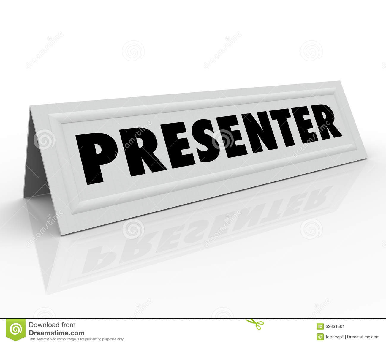 The Word Presenter On A Blank White Name Tent Card To Illustrate The