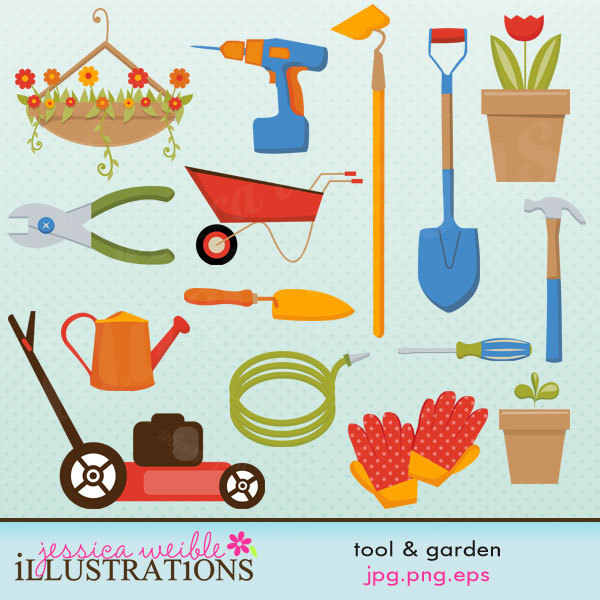 Tool And Garden Cute Digital Clipart For Card By Jwillustrations