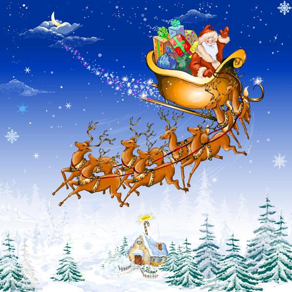 Santa sleigh sky clipart suggest