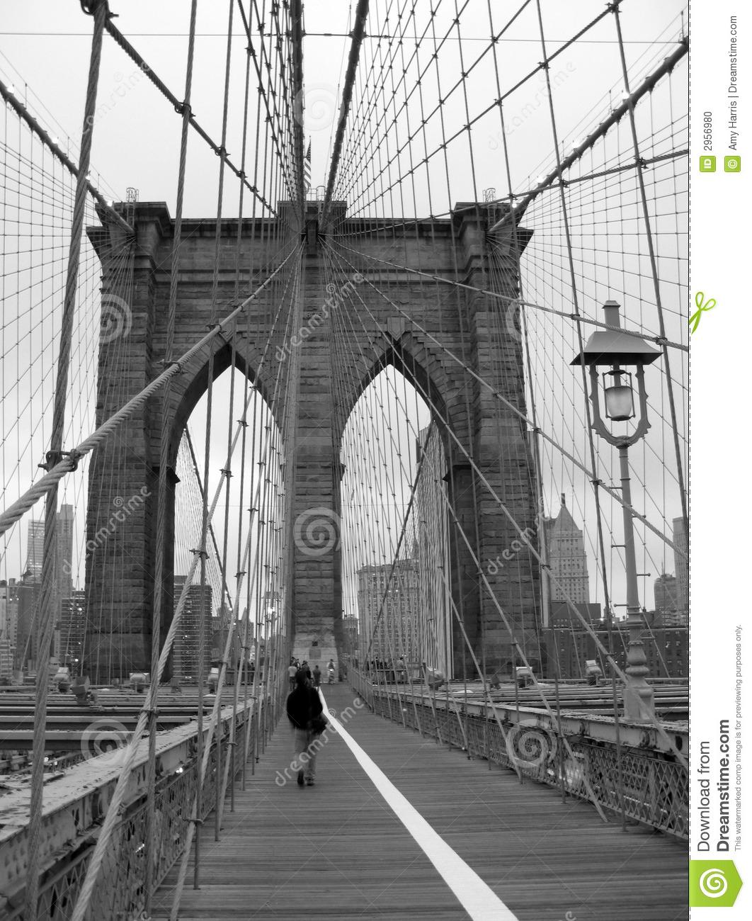 Black And White Of Brooklyn Bridge Walkway