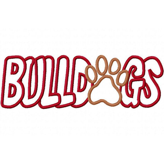 Bulldogs With A Paw Print Embroidery Machine Applique By Kayelee