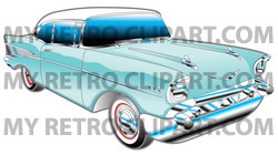 Clipart Illustration Of A Blue 1957 Chevy Bel Air Car With A White