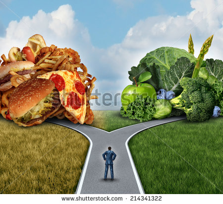 Diet Decision Concept And Nutrition Choices Dilemma Between Healthy