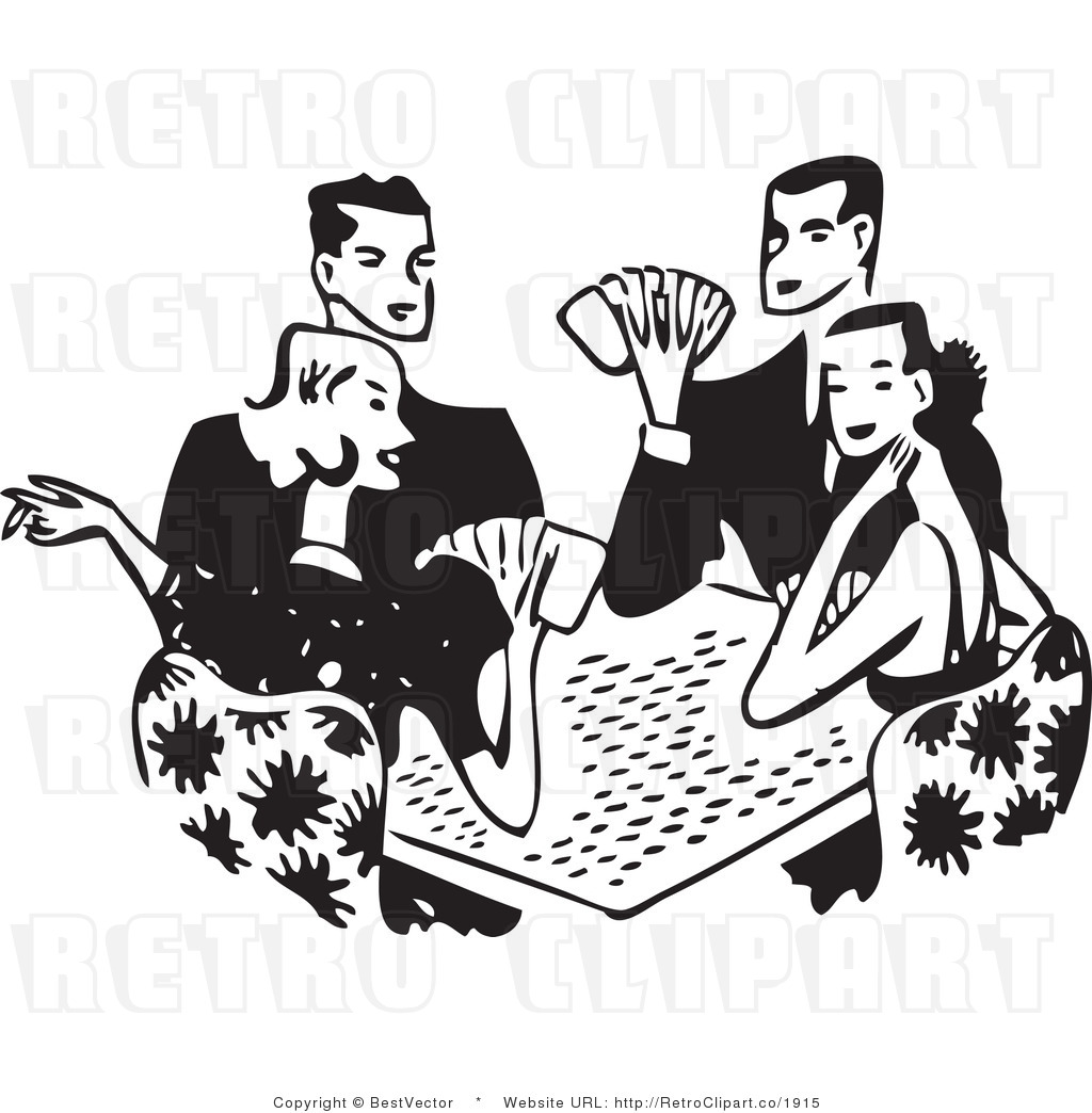Free Black And White Retro Vector Clip Art Of Couples Playing Cards