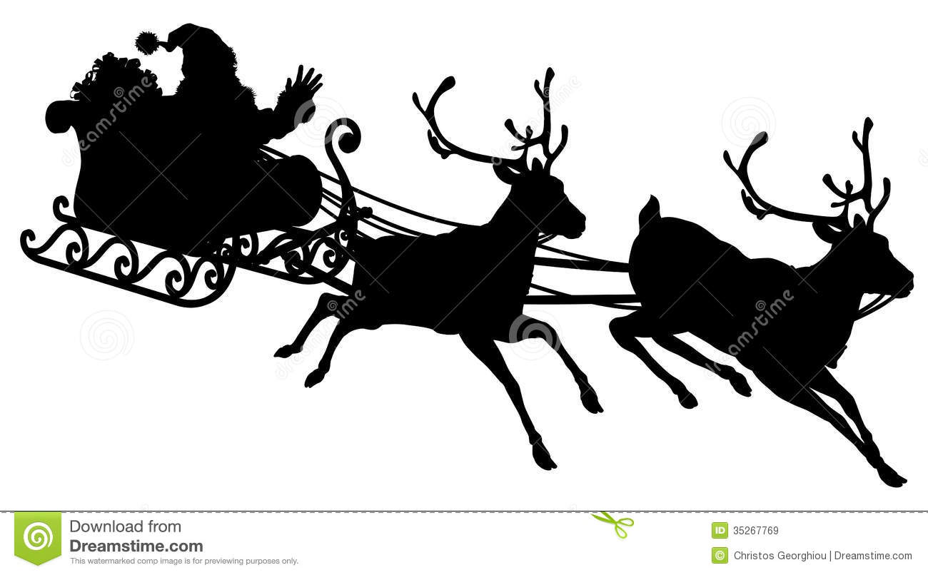 Santa Sleigh Silhouette Royalty Free Stock Images   Image  35267769