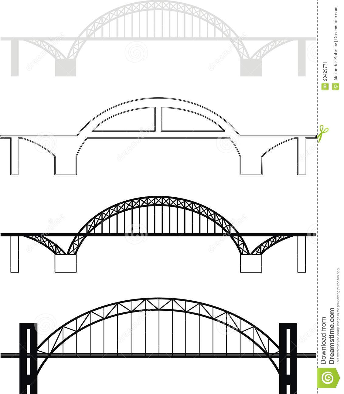 Set Of Bridge Black And Grey Silhouettes   Isolated Vector