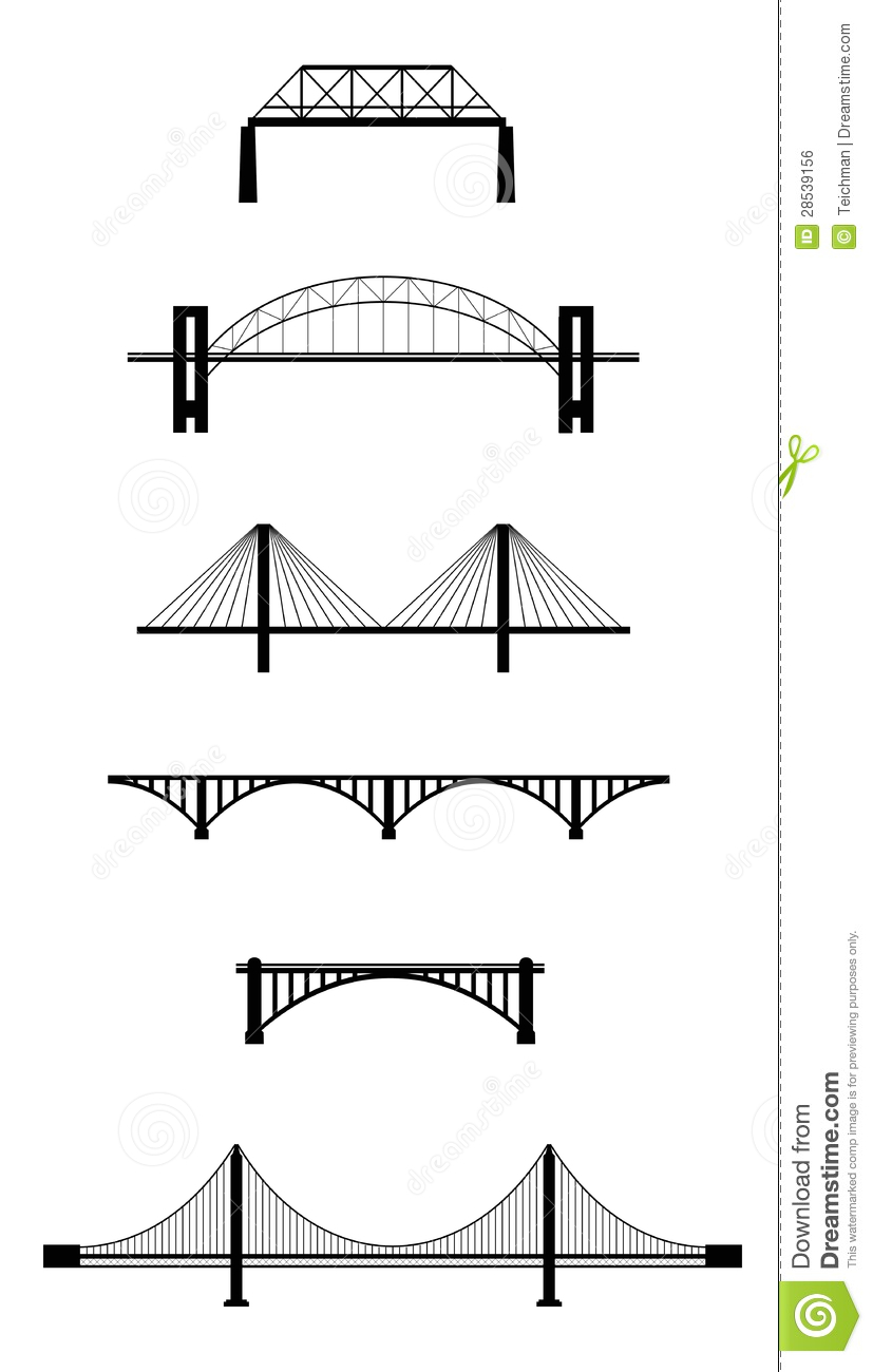 Set Of Bridge Black Silhouettes Isolated On White Background  Vector