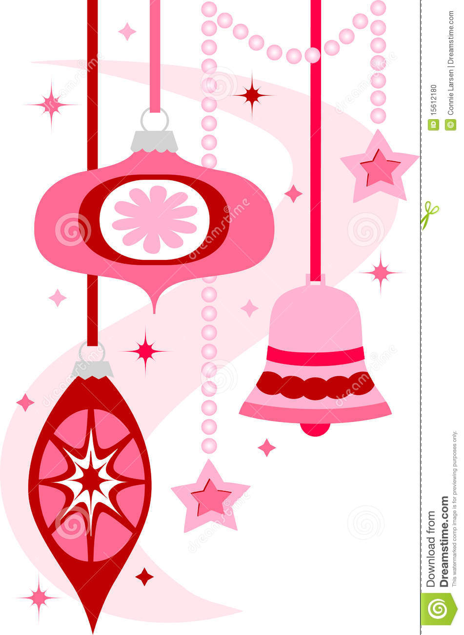 Style Illustration Of Hanging Christmas Ornaments In Bright Pink