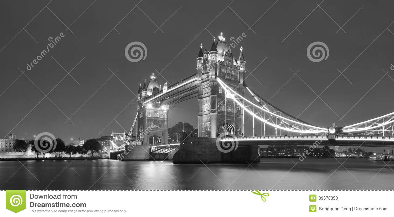 Tower Bridge Black And White In London Over Thames River As The Famous