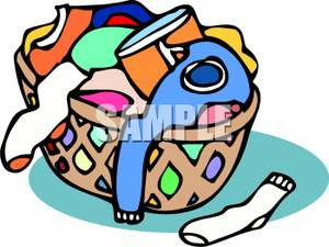 Basket Of Dirty Clothes   Royalty Free Clipart Picture