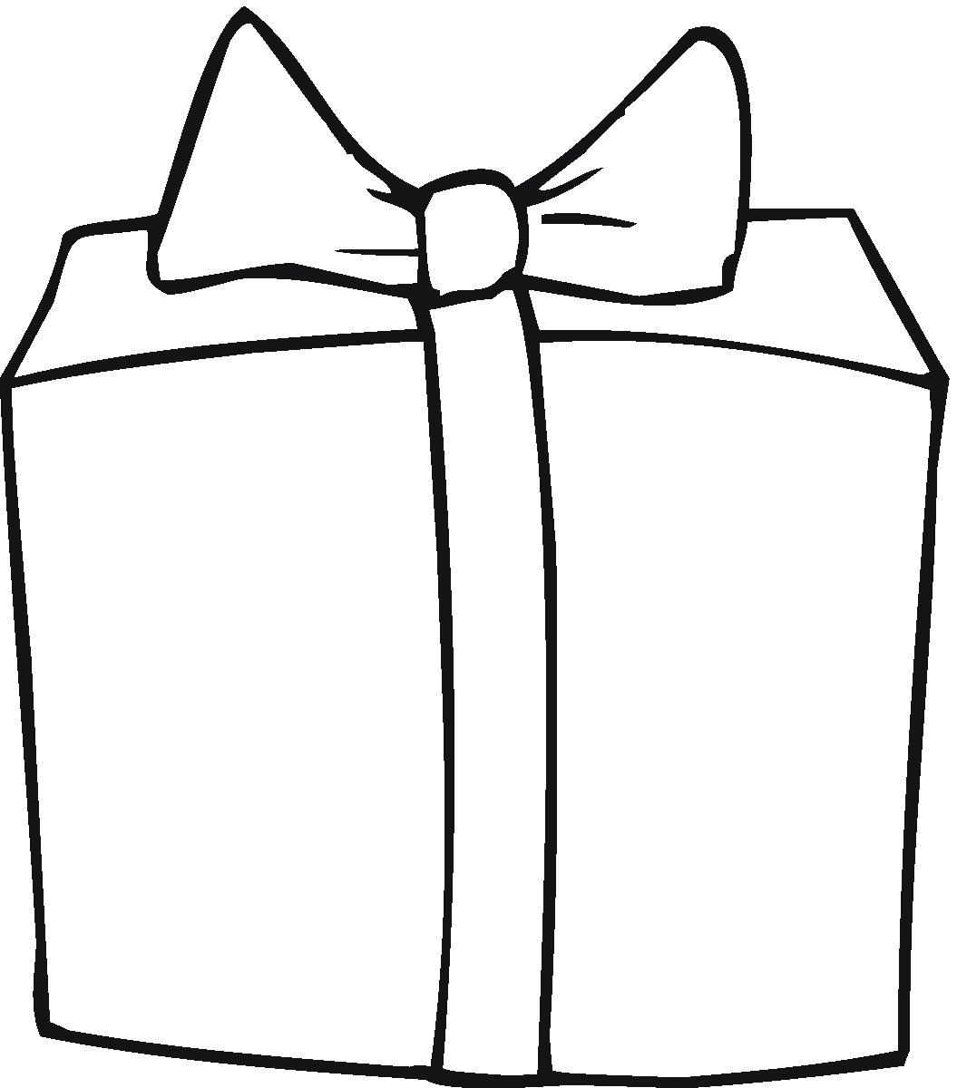 Black And White Outline Design Of A Mouse Pulling A Christmas Gift On
